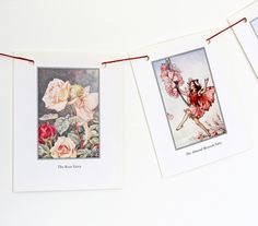 Flower Fairies Garland Pink Bunting Cicely Mary by PeonyandThistle