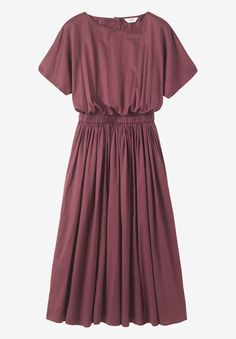 Full skirted dress with elasticated waist in a rich and sheeny cotton sateen. Boat-ish neck. Grown-on short sleeves. Button back to waist.