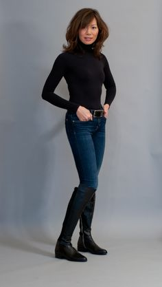 Black Boots Outfit, Asian Woman, Fashion Boots, Jeans And Boots, Black Tops, Tights, Normcore, Leather Jacket, Clothes For Women