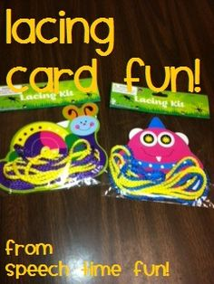 Speech Time Fun: Lacing Card Fun!  Ways to use a dollar store find in speech therapy!