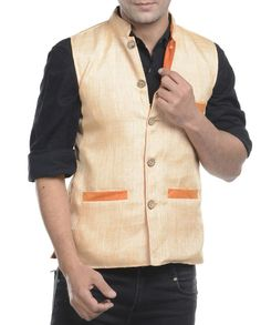 Beige jute mix and match jacket   1. Beige jute mix and match jacket2. Chest size: Medium-40 inches, Large-42 inches, XL-44 inches3. Jacket length: 27 inches, Large-27 inches, 28, XL-44 inches