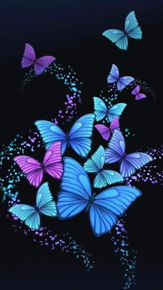 Wallpaper Mania Wallpaper: Butterfly Wallpaper - All About Blue Butterfly Wallpaper, Butterfly Artwork, Butterfly Background, Butterfly Pictures, Butterfly Painting, Butterfly Flowers, Flower Wallpaper, Beautiful Butterflies, Wallpaper Backgrounds