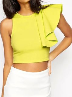 Apple Green Ruffle Sleeve Cropped Blouse | Choies