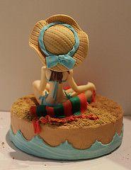 Modelado en fondant, relax en la playa (machussweetmeats) Tags: cake relax playa tarta mueca fondant modelada
