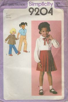 Simplicity 9204: Use this late 1970s vintage sewing pattern for girls to sew a charming preppy pleated skirt, blouse, top, and pants. Pants details: - long straight legs - elastic in back waistline casing - fitted front waistband Skirt details: - crisp knife pleats in front - fitted front waistband - elastic in back waistline casing Top and blouse details: - flared bodice with front with pleat - forward shoulder seams - collarless or peter pan collar - front neckline placket with button…