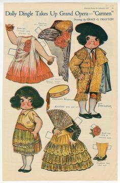"Dolly Dingle Takes up Grand Opera - ""Carmen""  paper doll  1921  Artist:  Grace G. Drayton"