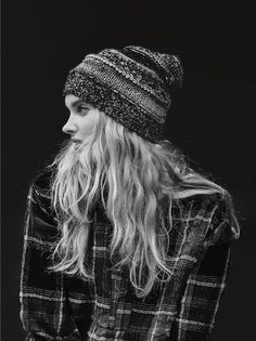 elsa hosk in plaid and knit beanie. zazumi.com