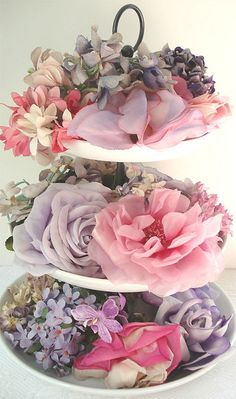 Tiers of Millinery Flowers