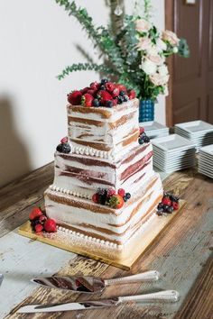 Semi-naked wedding cake idea - square, four-tier wedding cake with fresh berries [Allison Jeffers Wedding Photography}
