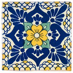 Blue and Yellow Talavera Tiles, Box of 15 - contemporary - tile - by Indeed Decor