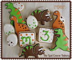 Dinosaur Decorated Sugar Cookie Set by TheLastCourseBakery on Etsy, $19.99