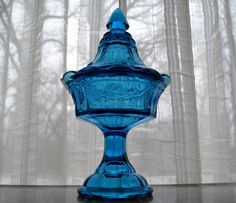 Tiara Indiana Glass Blue Candy Strawberry Jar & Cover #IndianaGlass