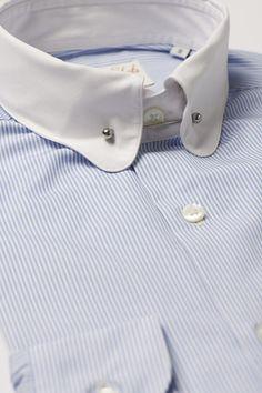Man's Casual Shirt - Pin Collar, Blue Stripe. avana-collection.com