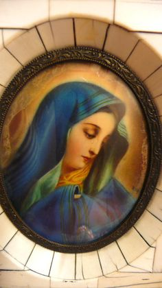 Antique French Miniature Hand Painted Virgin Mary with by VinLizzy, $55.00