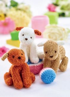 Easy Puppy Trio Free Toy Knitting Pattern. We love this mischievous crew! It's not just their cute toys and cheeky expression, but the fact that they're actually pretty straightforward to knit! You can use any DK yarn from your stash. If you're giving these toys to really young children, just make sure everything is sewn together really securely. Free Pattern
