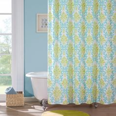 Brighten up your bathroom with this lovely teal and apple green damask print polyester shower curtain. Constructed out of soft microfiber fabric, this shower curtain will retain its integrity and color through many washes and everyday use.