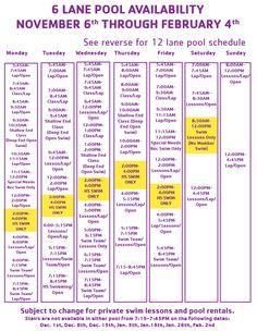 6 Lane Pool Schedule Nov 6, 2017 - Feb 4, 2018