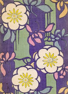 Kimono pattern with flowers, 1880s. Reminds me of old stencils.