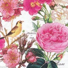 3 Rose Garden Paper Napkins for Decoupage Bird Decoupage by YWart