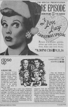 December 18, 1989: CBS re-aired the 1956 I LOVE LUCY Christmas special episode for the first time. [TV Guide ad and close-up listing]