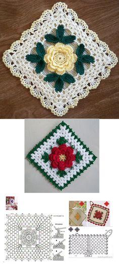 Manta Crochet, Crochet Mandala, Crochet Motif, Crochet Doilies, Diy Crochet Granny Square, Crochet Squares, Crochet Potholders, Crochet Blocks, Sewing Toys
