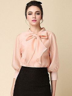 Shop Pink Bow Front 3/4 Sleeve Organza Shirt from choies.com .Free shipping Worldwide.$15.9