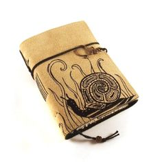 Snail   Leather Journal Notebook Diary by Kreativlink on Etsy