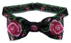 Rose Bow Tie Necklace : Beading Patterns and kits by Dragon!, The art of beading.