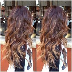 Full balayage highlights over an ombré. Love this..now if my hair would