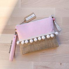 Bridesmaid Clutches, Bridesmaid Gifts, Cork Fabric, Canvas Fabric, Cotton Canvas, Pink Clutch, Clutch Bag, Diy Bag Designs, Handmade Bags