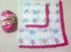Material: Fralda 100% algodão, Linha Cléa Técnica: crochê Produto: -  01 fralda manta (70 x 70 cm) -  01 fraldinha para boca (35 x 35 cm) R$20,16