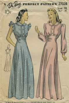 Vintage Sewing Pattern | Nightgown | Du Barry 2702B | Year 1941 | Size 18 | Bust 36 | Waist 30 | Hip 39