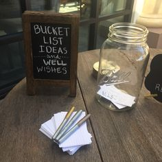 Retirement party bucket list chalkboard well wishes mason jar