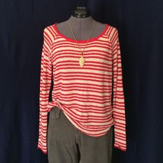 Reverse Knit Top from Urban Outfitters Super Cute!!  By Lark & Wolff, Cream & Red striped lightweight, nubby, intentionally (factory made) imperfect knit top. It's a loose fitting style. It's a reverse knit meaning it is worn inside out. The reverse knit process leaves loops occasionally in the fabric & you can see them in pic #4. It has raglan sleeves. The bust measured flat across is 19 inches, back collar to hem is 22 inches. 77% cotton, 23% nylon. Hand Wash Cold, lay flat to dry. No wear…