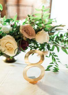 Gold Mirror Acrylic Wedding Table Numbers | Handmade Wedding Decor & Gifts at www.ZCreateDesign.com... or shop ZCreateDesign on Etsy #wedding #tablenumbers #goldmirror