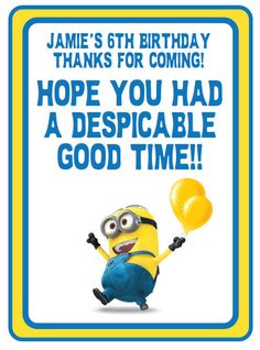 Customized Despicable Me Printables Despicable Me Birthday Party Favors