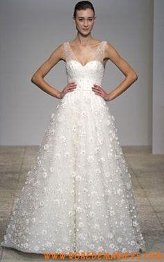 Robe de mariée col V applique de fleurs