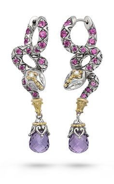 Zen Garden Snake Earrings – Diamond, Pink Sapphire & Rose de France – Barbara Bixby