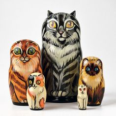 Five Different Cats Nesting Doll