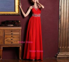 Free Shipping 2014 New Look Elegant V-Neck Beading Empire Waist Floor Length Evening Dresses /Custom Colour/Custom Size
