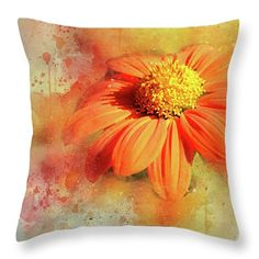 #Orange colors Interior #decor throw pillow. For home and office featuring the photograph Abstract Orange Flower by Judi Saunders.