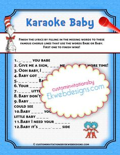 Karaoke Baby   Baby Shower Game   Dr. Seuss   Printable