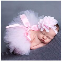 Newborn Baby Girls Clothes Skirt Set Baby Hat Baby Cap Newborn Photography Props For 0-3 Month