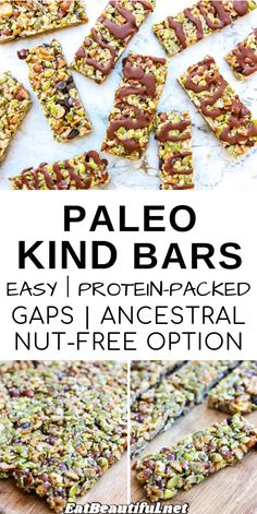"""Paleo Kind Bars are a healthy trail mix-style """"granola"""" bar you can tailor to your diet. Nutrient-dense with a yummy goo that holds them together, this nut & seed bar copies a store-bought favorite, but is much better — and healthier. 