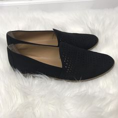 9a2c8fbf73e5 Franco Sarto Women 9 Loafer Flats Black Vegan Faux Suede Slip On Shoes  Casual  fashion