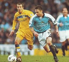 Man City 2 Leeds Utd 5 in Jan 2000 at Maine Road. Paul Dickov charges forward for City in the FA Cup Round. Fa Cup, Leeds, 2000s, Maine, Football, Running, City, Sports, Hs Football