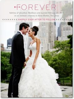 Shutterfly.com - Signature White Photo Wedding Announcements Forever Starts Here - Front : Begonia