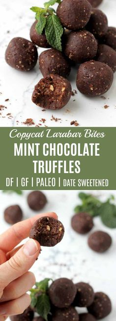 These Mint Chocolate Truffle Bites were meant to be a copycat for the Larabar Bites my kids love, but I dare say, they are even better tasting and way easier on the budget! Sweetened with dates, collagen added for extra protein, and a touch of dark chocolate. | thenourishedfamily.com