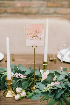 pink and gold table number @weddingchicks