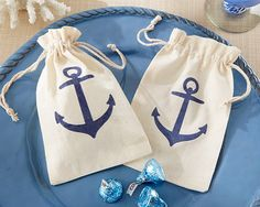 Set sail sweetly for home with this Voyages Anchor Muslin Favor Bag. The rich, nostalgic tradition of seafaring is captured in a simple, muslin favor bag, perfect for seaside and shipboard events. Nautical Wedding Favors, Nautical Bridal Showers, Candy Wedding Favors, Wedding Favor Bags, Bridal Shower Favors, Baby Shower Marinero, Marine Style, Anchor Wedding, Muslin Bags